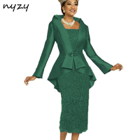 NYZY M23H 2019 Simple Elegant Formal Dress for Mother of the Bride Groom with Jacket Bolero Emerald Green Wedding Party Outfits