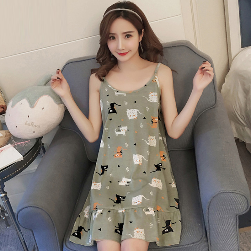 Yidanna Cotton Sleepshirts Sleeveless Sleepwear <font><b>Sexy</b></font> Lingerie Pijama Cat Print Female Nightgown Nightdress Women Nighties Summer image