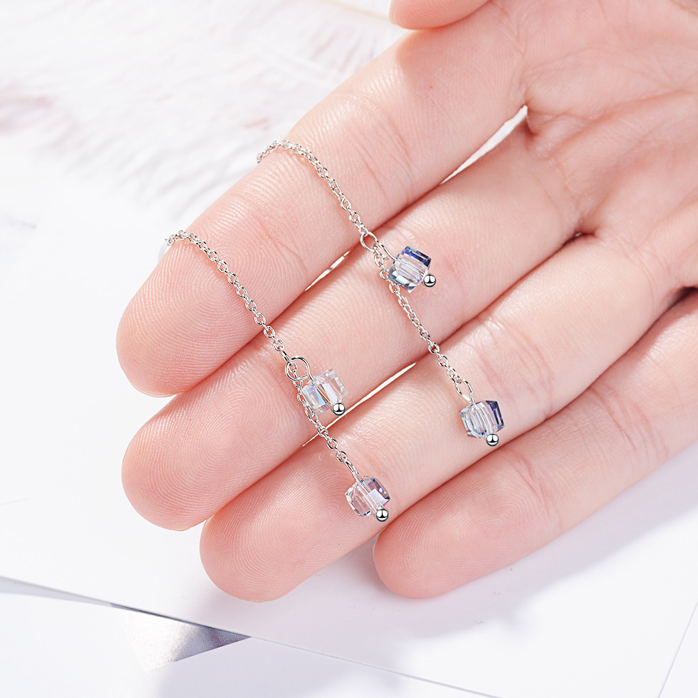 Chereda Square Transparent Long Chain Dangle Earring Tassel Elegant Drop Earring 2019 New Trendy in Drop Earrings from Jewelry Accessories