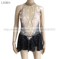 Figure Skating Dress Customized Competition Ice Skating dress for Girl Women Gray black gradient color Shiny rhinestone
