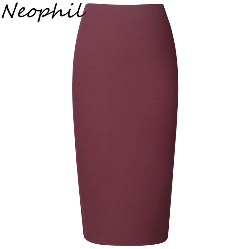 Neophil 2019 Winter Sexy Ladies Chiffon Pencil Skirts Midi High Waist Stretch Slim Casual Pink Black Office Work Wear Saia S0311