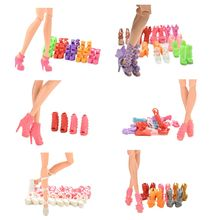 Random 10 Pairs Assorted Fashion Colorful Mixed Style Sandals High Heels Shoes For Doll Accessories Clothes Dress Kid Toy(China)