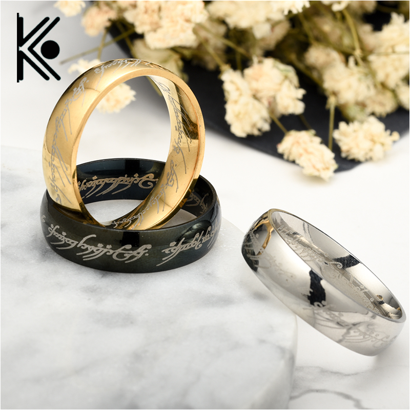 Drop shipping Movie Hip hop jewelry The Lord of the  Stainless Steel Black/golden Rings  jewelry for Men Fashion Jewelry Casual
