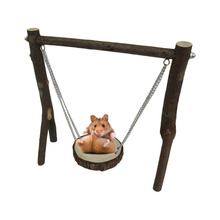 Natural Wooden Hamster Toys Small Pet Swing with Holders Chew toys For Chinchillas/Guinea Pigs Funny Play