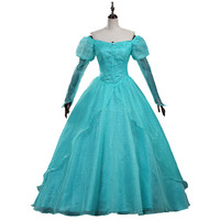2018 High Quality The little Mermaid Ariel green dress Ariel princess Costume Adult Women Halloween Cosplay Costume