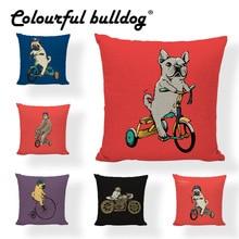 Funda de almohada con dibujo de Bulldog Francés para Fitness, motocicleta, perro encantador 43*43 cm, funda de cojín Vintage para bicicleta, decoración para sala de estar y jardín