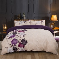 New Scenic Botanical Flower Print Bedding Set Red Blue Purple Floral Bed Linen Antique Pastoral Duvet Cover Bedspread Set