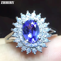 ZHHIRY Genuine Natural Blue Tanzanite 925 Sterling Silver Gemstone Ring For Women Flower Rings Real Precious Fine Jewelry
