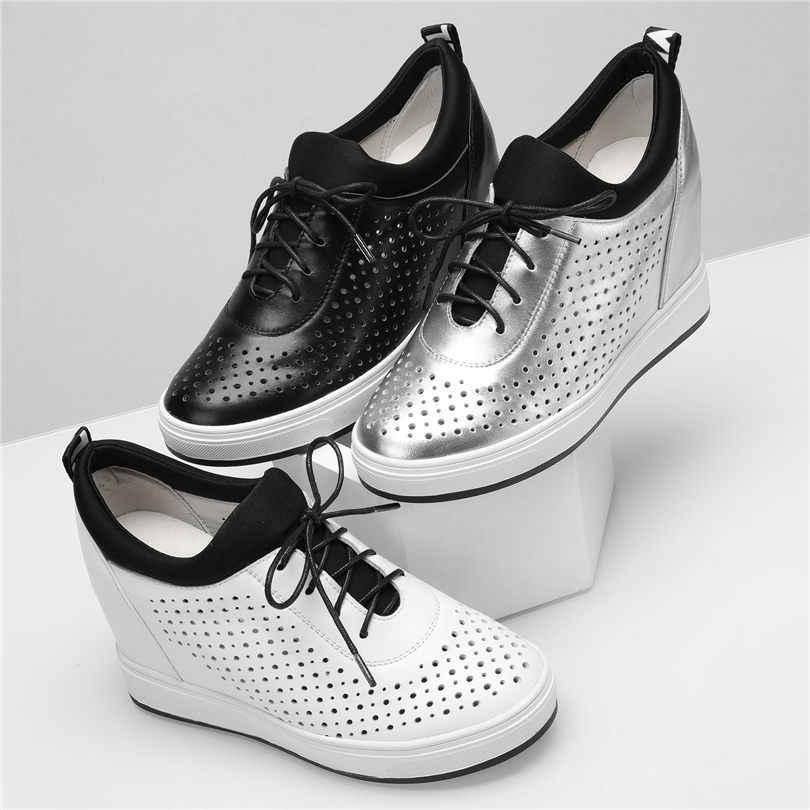 Sıcak Creepers Kadınlar Tenis Ayakkabıları Nefes Hakiki Deri Takozlar Yüksek Topuk yarım çizmeler Platformu Oxfords Açık Yaz Eğitmenler