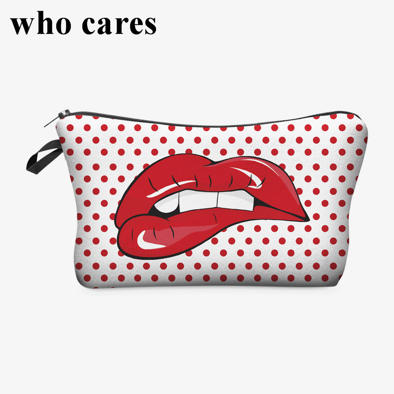 Red lip 3D Printing women cosmetic bags neceser makeup bag bolsos mujer de marca famosa 2018 necessaire toiletry bag organizer unicorn 3d printing fashion makeup bag maleta de maquiagem cosmetic bag necessaire bags organizer party neceser maquillaje