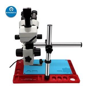 Image 1 - 3.5X 90X 三眼ズームステレオ顕微鏡で 360 度回転アームデジタル hdmi カメラはんだマット電話 pcb 修理