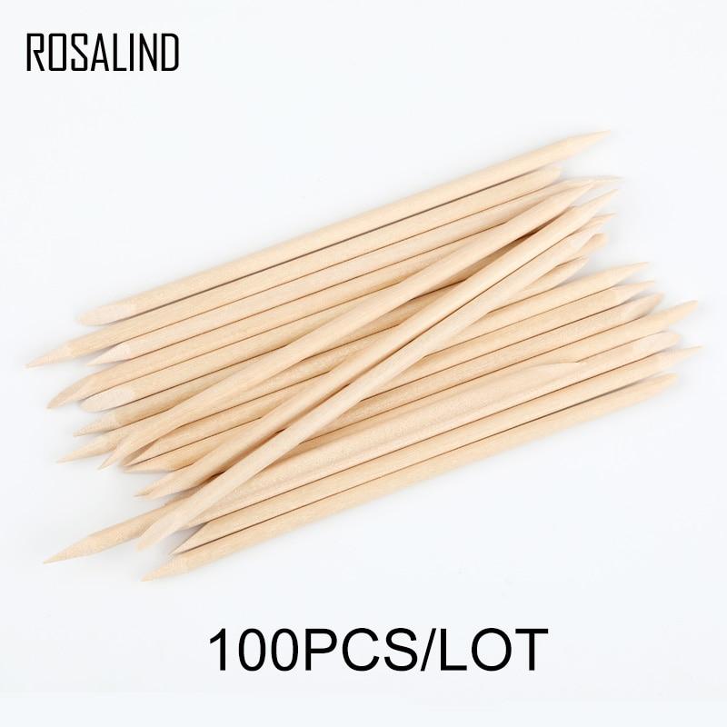 ROSALIND 100PCS/Lot Orange Sticks Wood Cuticle Pusher Nail Art Remover Set For Manicure Pusher for Nails