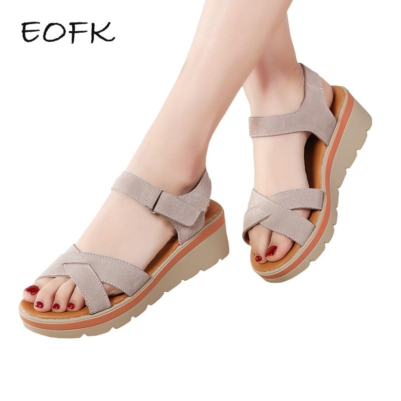 EOFK New 2019 Summer Women Sandals Comfortable Suede Leather Flat Sandals Lady Shoes Woman Sandalias