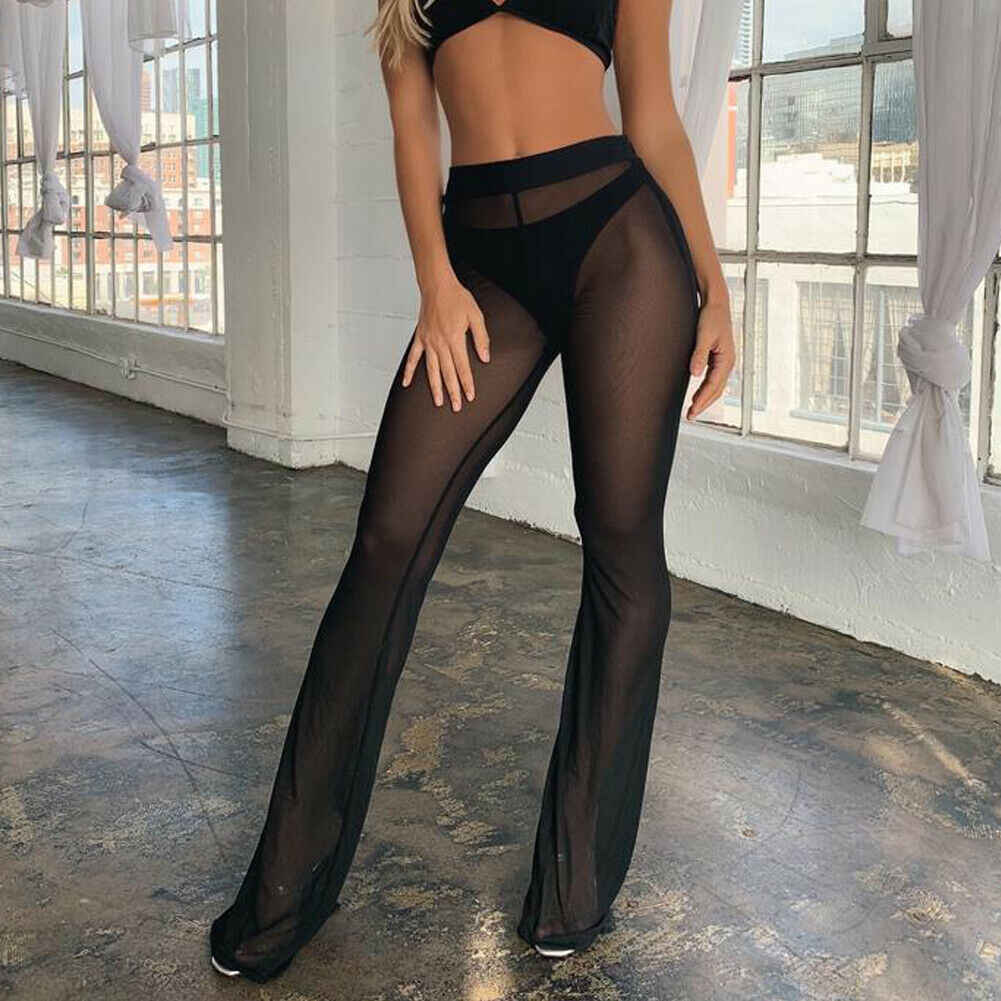Women Sexy Beach Sheer Mesh See Through High Waist Bikini Cover Up Pants