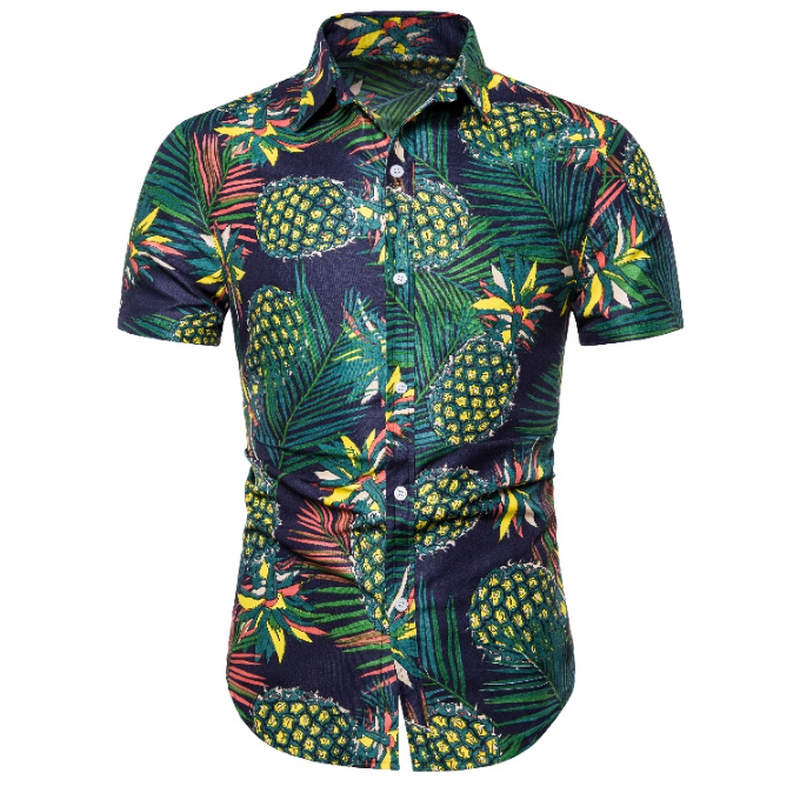 2019 Men Shirt Summer Style Palm Tree Print Beach Hawaiian Shirt Men Casual Short Sleeve Hawaii Shirt Chemise Homme