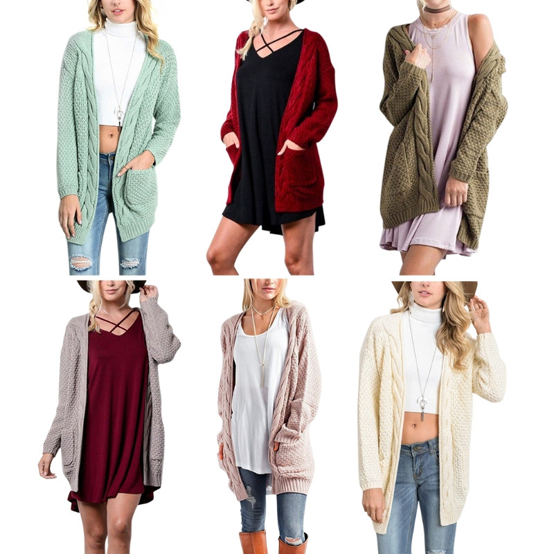 Open Front Knitted Long Sleeve Autumn Women Sweater Cardigan Coat With Pocket ...