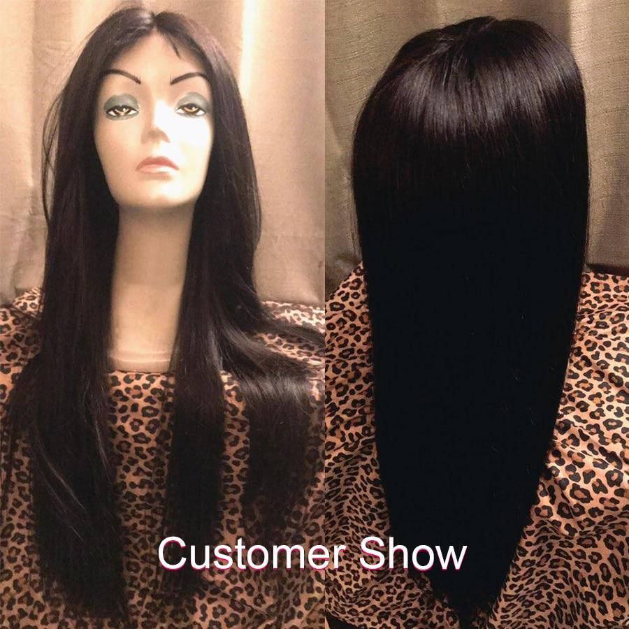 Straight Lace Front Wig Mänskliga Hårperor För Svarta Kvinnor - Mänskligt hår (svart) - Foto 2