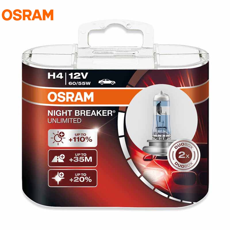 OSRAM NIGHT BREAKER UNLIMITED 12V H1 H4 H7 H11 9005 9006 Auto Headlight Bulbs Super Bright Upgrade Lamps Hi/lo Beam Fog Light