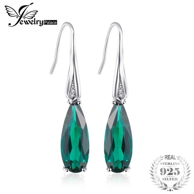 Jewelrypalace Water Drop 4 1ct Nano Russian Created Emerald Dangle Earrings Genuine 925 Sterling Silver