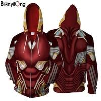 2018 New Iron Man 3d Jacket Cool Men Women Zipper Hoodie Sweatshirt Fashion Streetwear Superman Sweatshirt