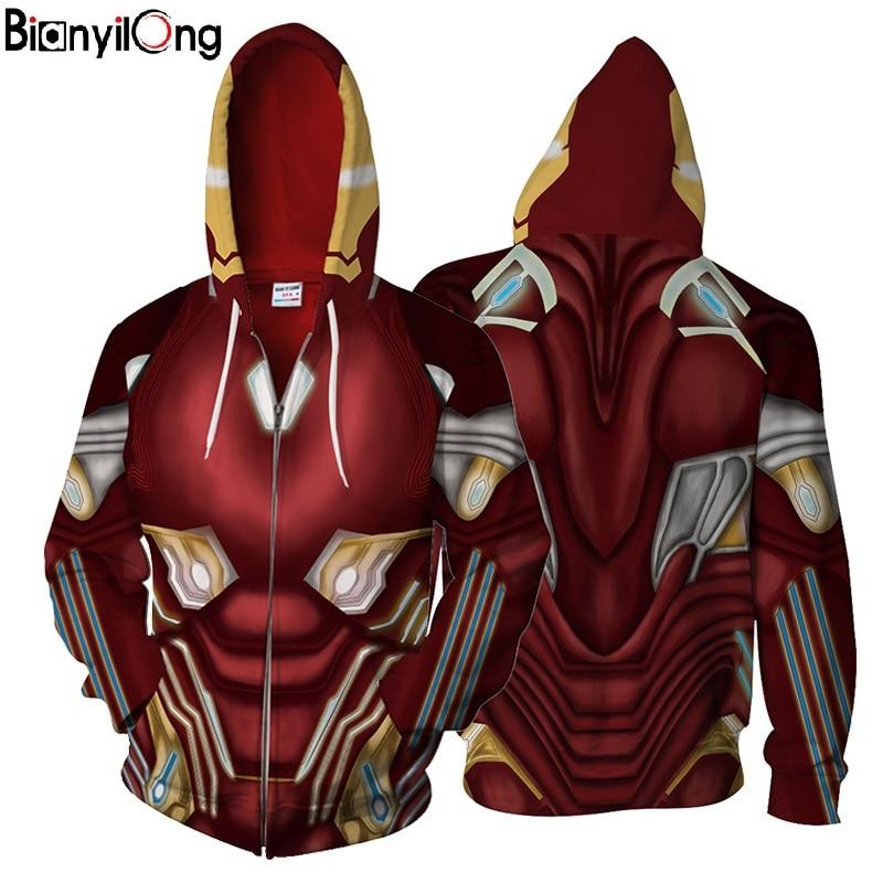 BIANYILONG 2018 nouveau Iron Man Mark50 3d veste Cool hommes femmes zipper sweat à capuche De Mode Streetwear hip hop tops NOUS taille