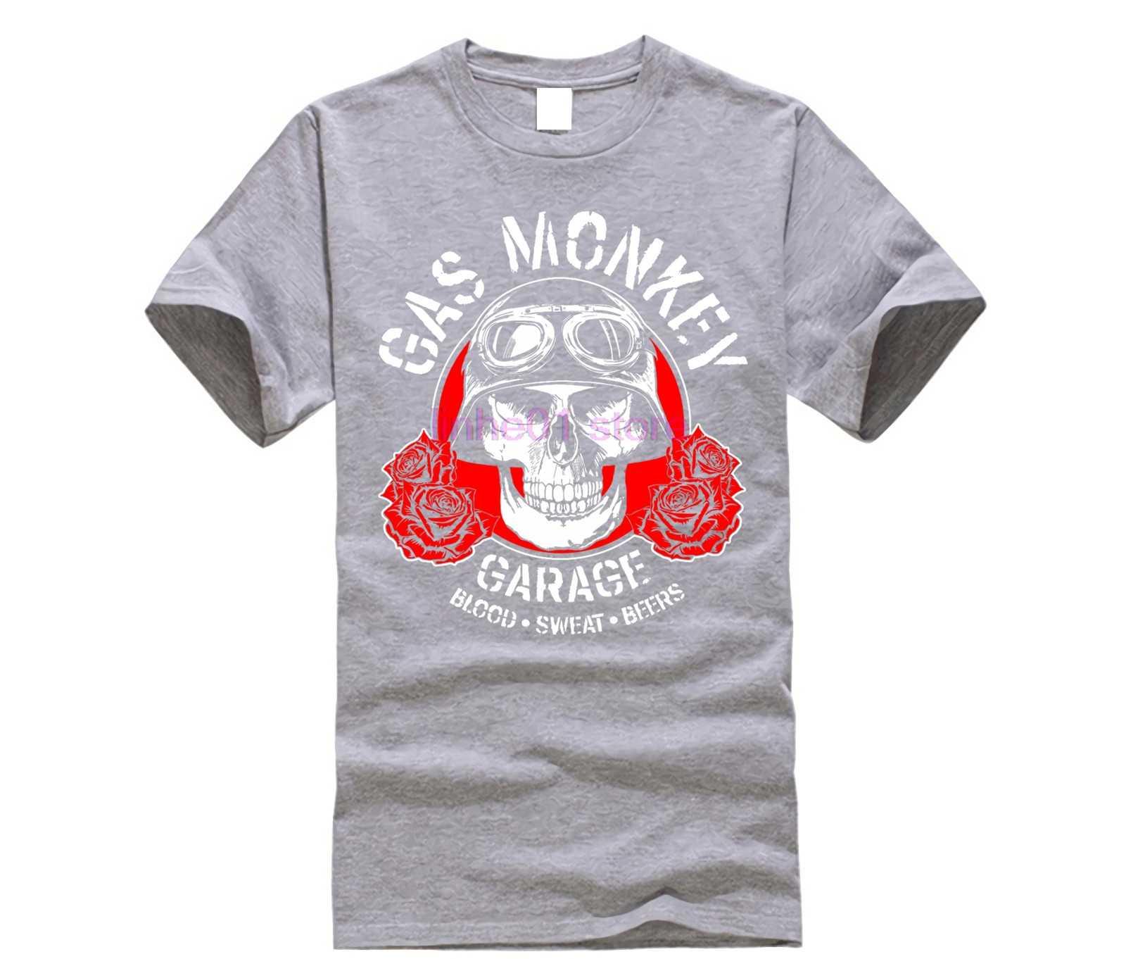 GILDAN 2019 NEW shirt GAS MEN shirt MONKEY Garage Skull Custom Builds  Licensed Fast N Loud Black Mens T-shirt