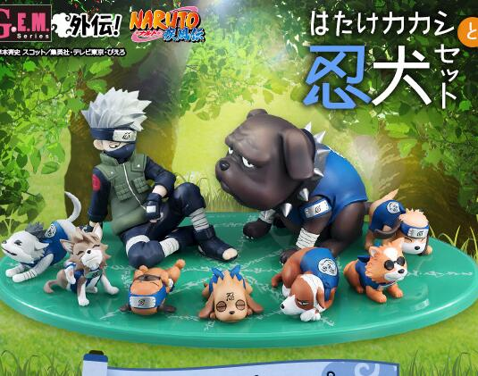 9pcs/set Hatake Kakashi Naruto Eight Ren Dogs Cartoon Anime Action Figure PVC toys Collection figures for friends gifts free shipping japanese anime naruto hatake kakashi pvc action figure model toys dolls 9 22cm 013