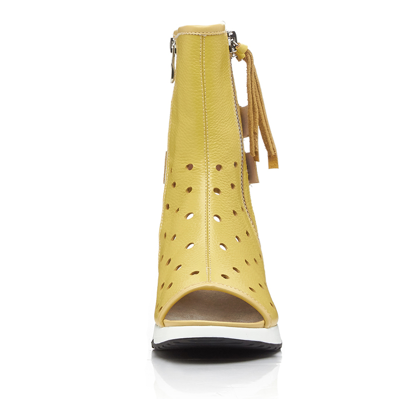 Primavera Cortas Mujeres Ldhzxc Genuino Del Cuero Alta Peep Botas Gladiador Toe Botines blanco amarillo Tacones 2018 Calidad Negro Verano Altos SRBxx5n4q