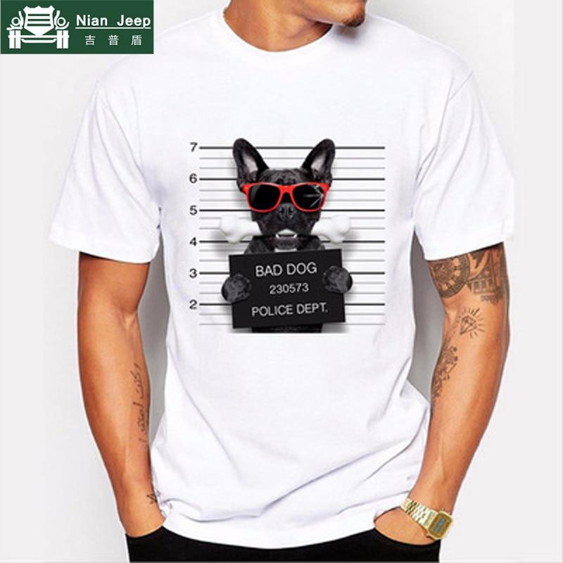 2018 New Summer T shirt hommes De Mode Chien Impression de Conception Hommes T Shirt de Haute Qualité Tops Hippie T-shirts camisetas hombre de marca