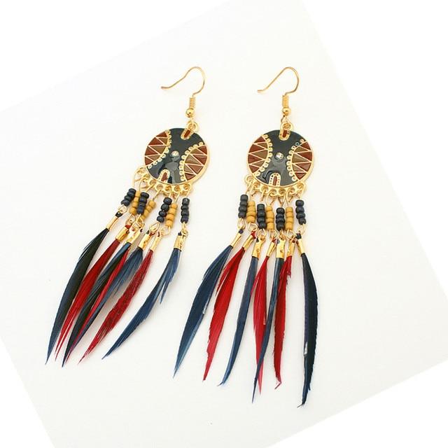 New Vintage Indian Ethnic Style Jewelry Bohemia Boho Earrings Colorful  Enamel Beads Long Feather Tassel Drop 8feff63692c3