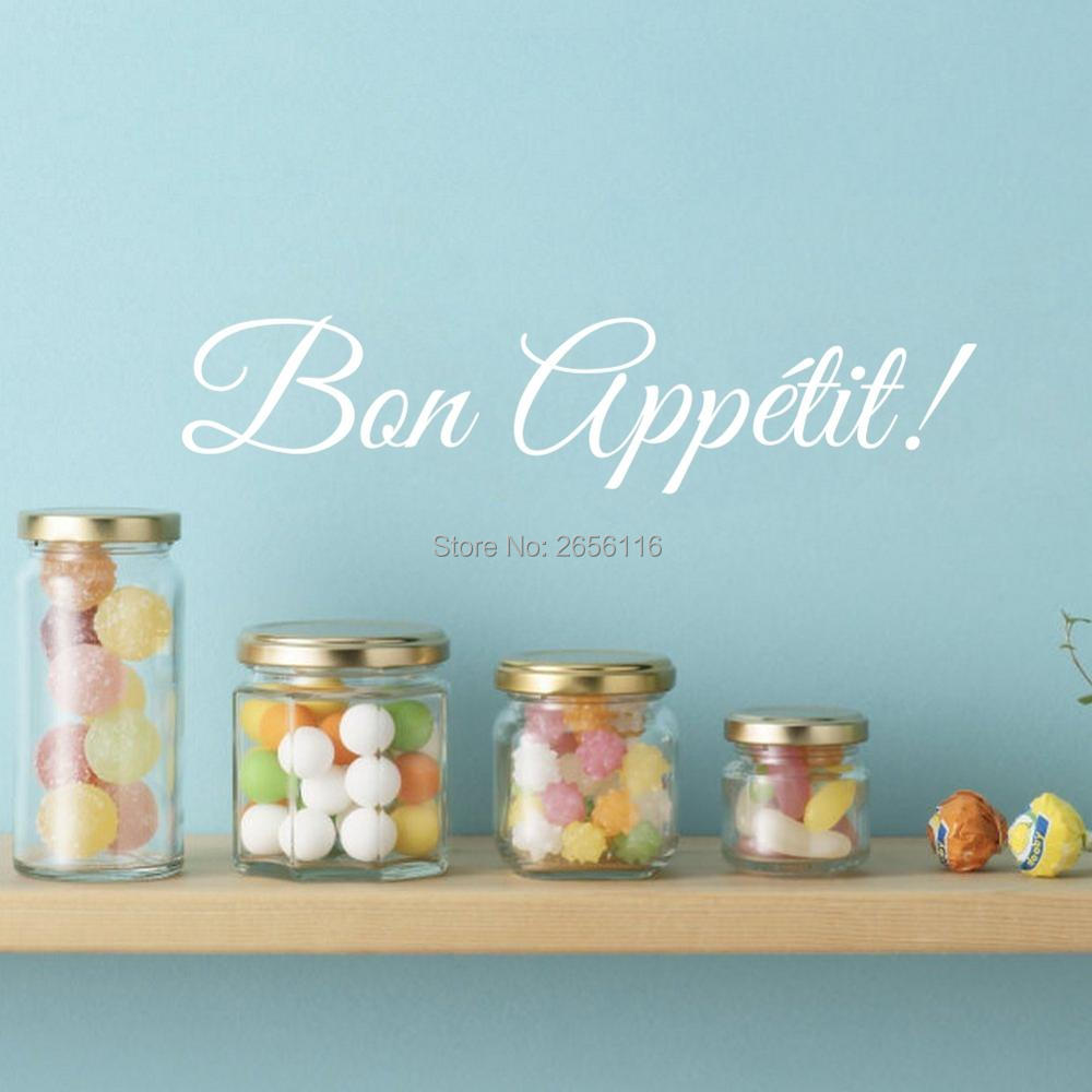 French Quotes Wall Decals Bon Appetit Art Lettering Vinyl Stickers for Kitchen Dining Room Restaurant Decor