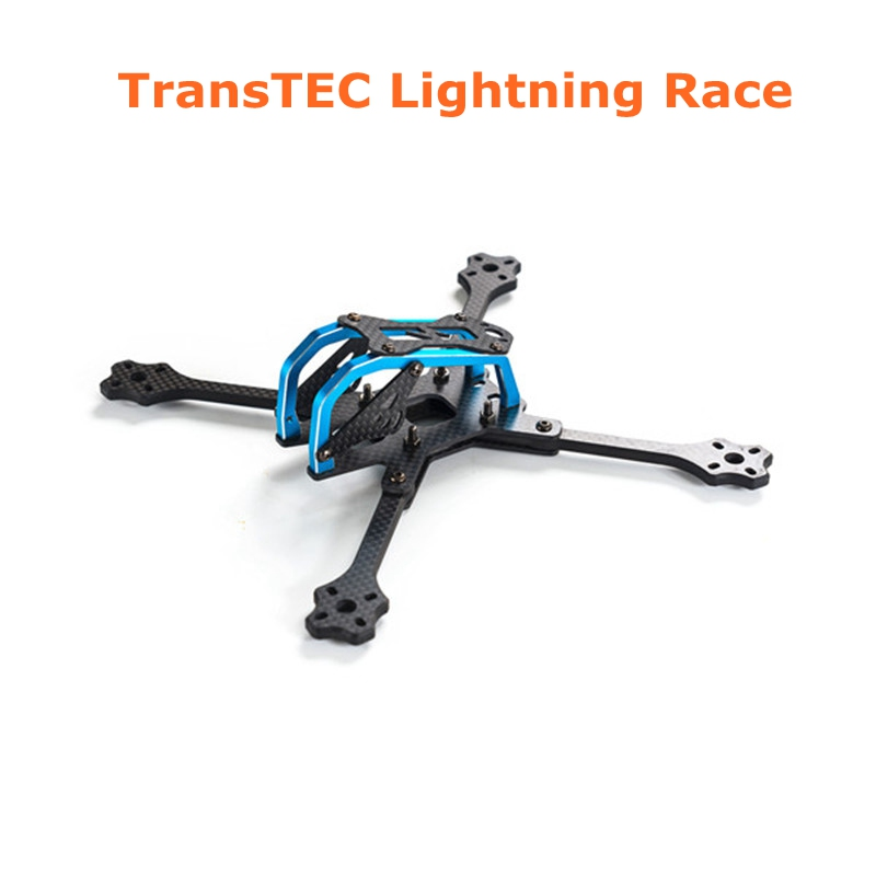 2018 Newest TransTEC for Lightning Race 215mm 5mm 3K Full Carbon Fiber Frame Kit Blue / Sliver for RC Racing Racer Drone Toy DIY transtec freedom 215mm 4mm 3k carbon fiber quad frame kit for multirotor fpv rc racing racer frame drone kit quadcopter uav diy