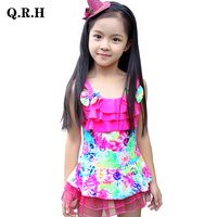 2017 Children S Floral Swimsuit Baby Girls One Piece Suit Skirt Swimwear Bathing Suit For Kids