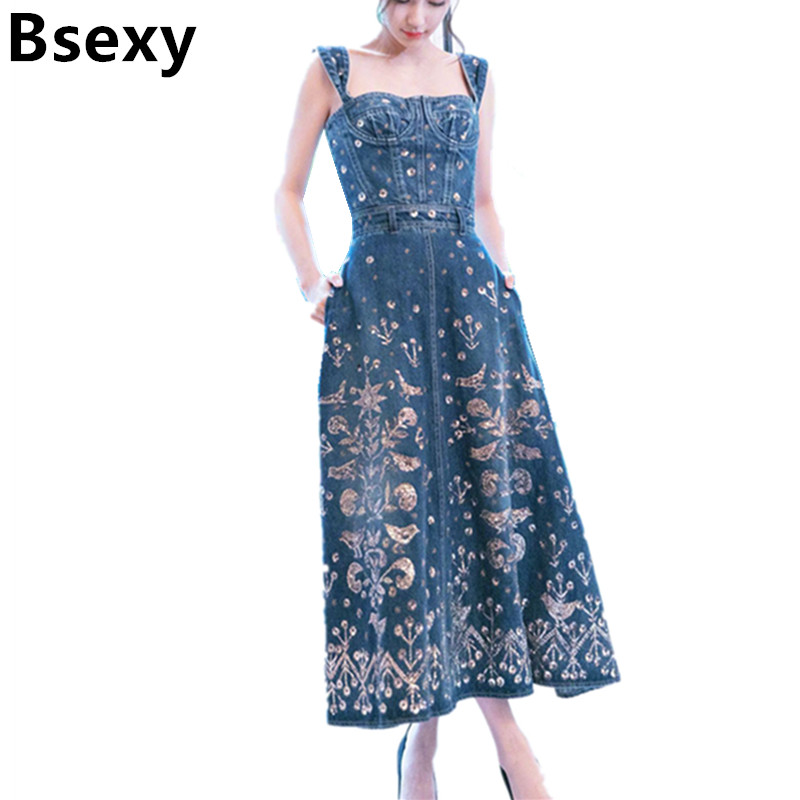 Sexy embroidered denim dress 2017 women backless floral spaghetti strap jeans dress summer mid Long suspender