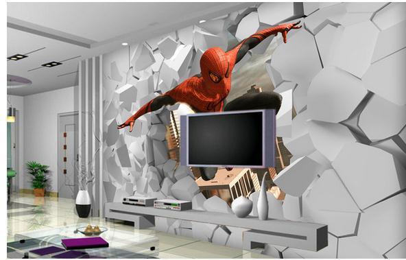 non woven wallpaper 3d spiderman hole out wallpaper papel de parede
