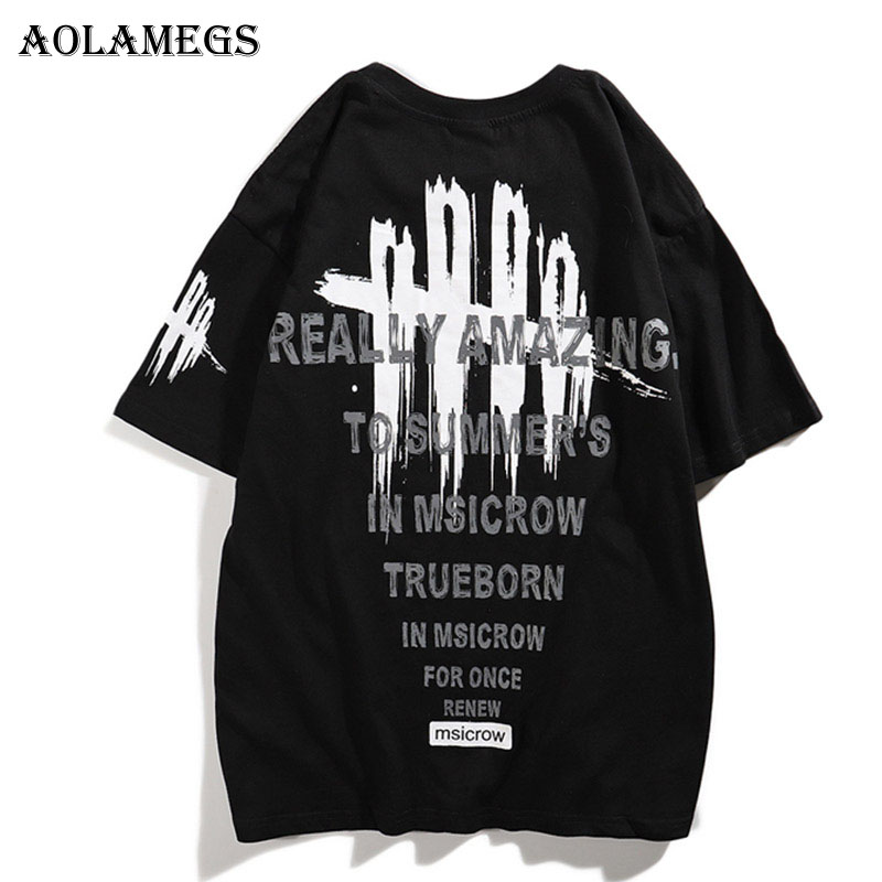 Aolamegs Men T Shirt Claw Mark Letter Printed Men's Tee Shirts O-neck T Shirt Short Sleeve Fashion High Street Tees Streetwear
