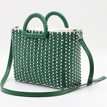 LJL-Hand-Woven Straw Bag Green White Color Beach Bag Rattan