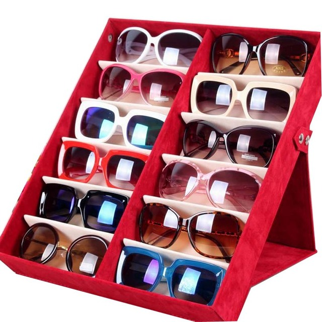 Compartment Storage Box For Glasses Sunglasses Jewelry Display Tray Holder  Case