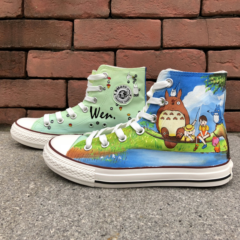 Wen Hand Painted Shoes Design Custom Anime My Neighbor Totoro High Top Canvas Sneakers for Men Women's Christmas Gifts