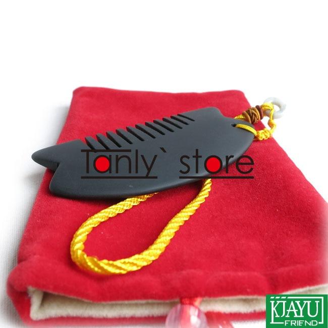Wholesale & Retail Black Bian Stone Massage Guasha Comb health care product  (90x45mm) 20pieces/lot