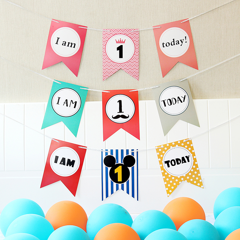 I Am One Printed High Chair Banner Decoration, First Birthday Party DIY, Gray Pennant, Babys 1st Birthday