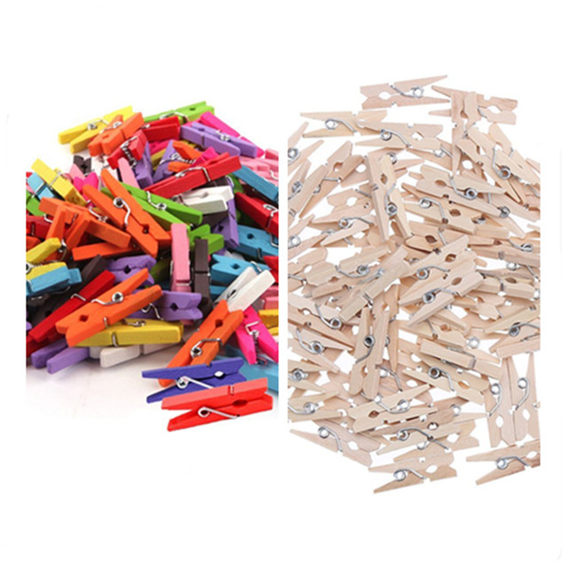 100 pcs Small Size 25mm Mini  Wooden Clips For Photo Clips Clothespin Craft Decoration Clips   V1745