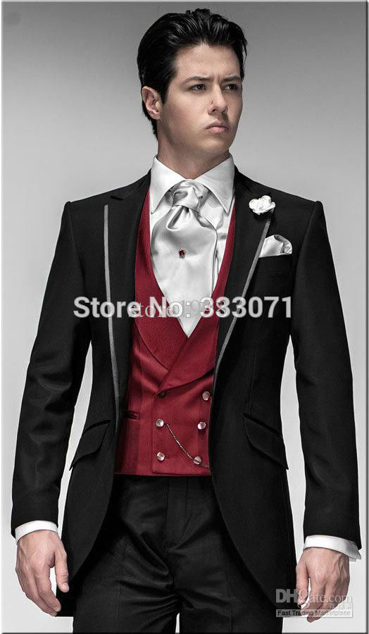 Custom Made Groom Tuxedos Black Suit Red Vest Notch Lapel Best Man Groomsman Men Wedding Party Dress Jacket Pants Tie Vest Dress Plain Dress Jacket Outfitsjackets For Bridesmaid Dresses Aliexpress