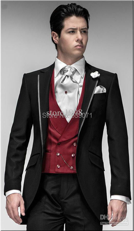 Popular Mens Dress Suit Jacket Red and Black Lapels-Buy Cheap Mens ...