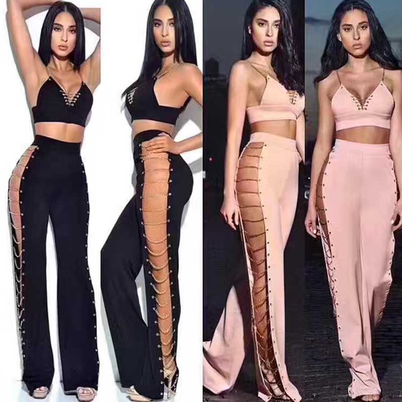 new Jumpsuits Black and pink V-neck Hollow Out two piece set Tight sexy woman bandage Rompers (H2026)