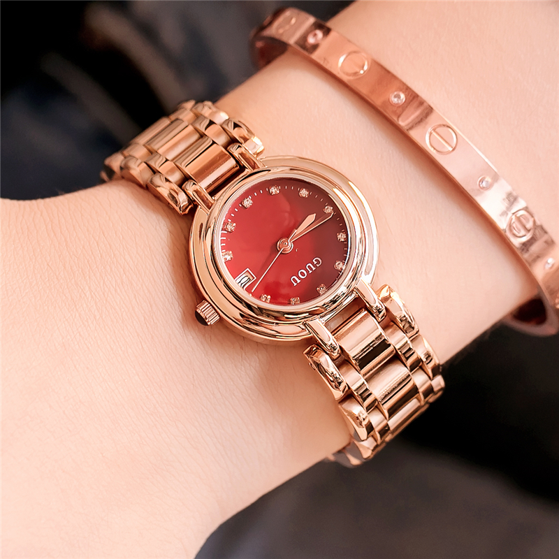 GUOU Women Bracelet Watch Top Brand Luxury Small Dial Ladies Quartz Watches Rose Gold Calendar Women Clock relogio feminino kimio brand bracelet watches women reloj mujer luxury rose gold business casual ladies digital dial clock quartz wristwatch hot