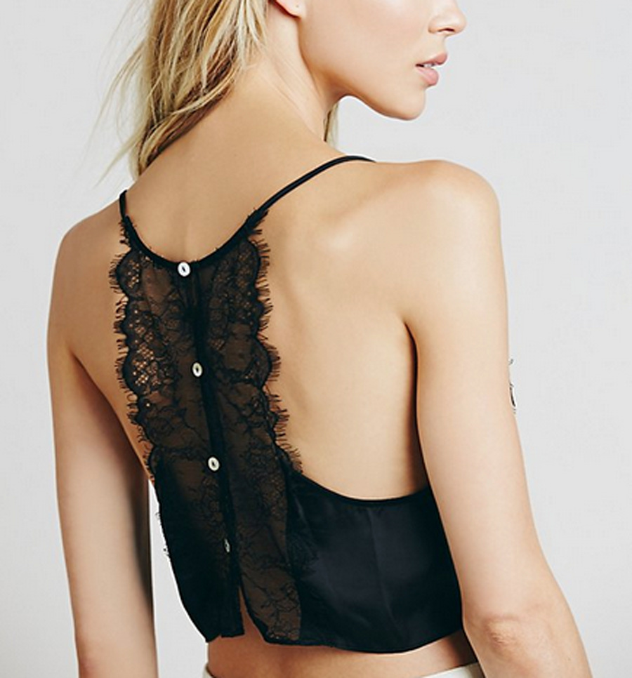 Women Black Tank Tops Women Strap Lace Top Sexy Female Satin Back Lace Crop Tops Summer Ladies Silk Camisole Cropped
