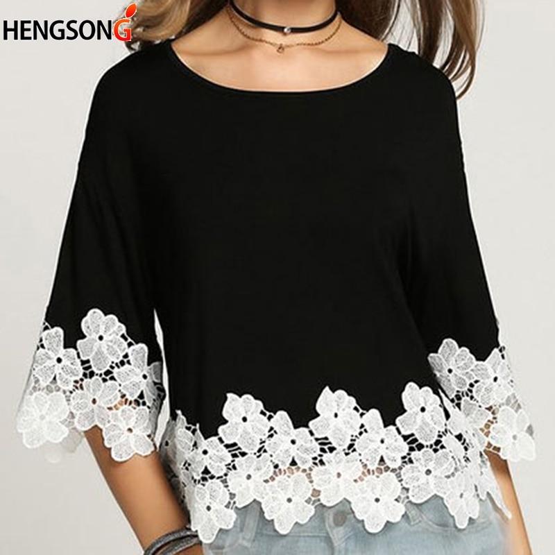 Lace Stitching Short Top Summer Women Tops New Korean Chiffon Shirt Loose leisure Round Neck T-shirt