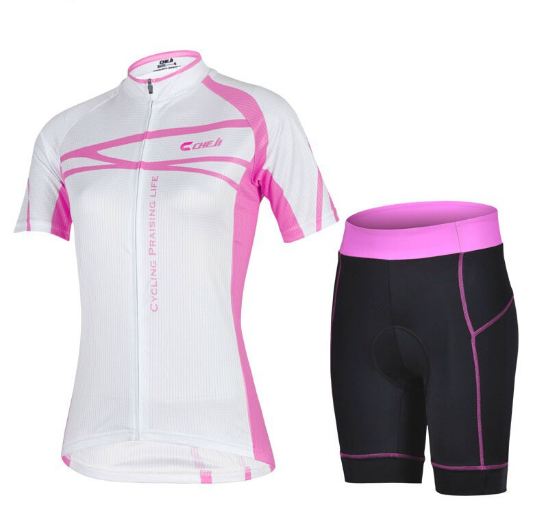 New-Pink-White-Cycling-Wear-Team-CHEJI-Women-Cycling-Jersey-Short-Sleeve-Pants-Girl-s-Fashion (5)