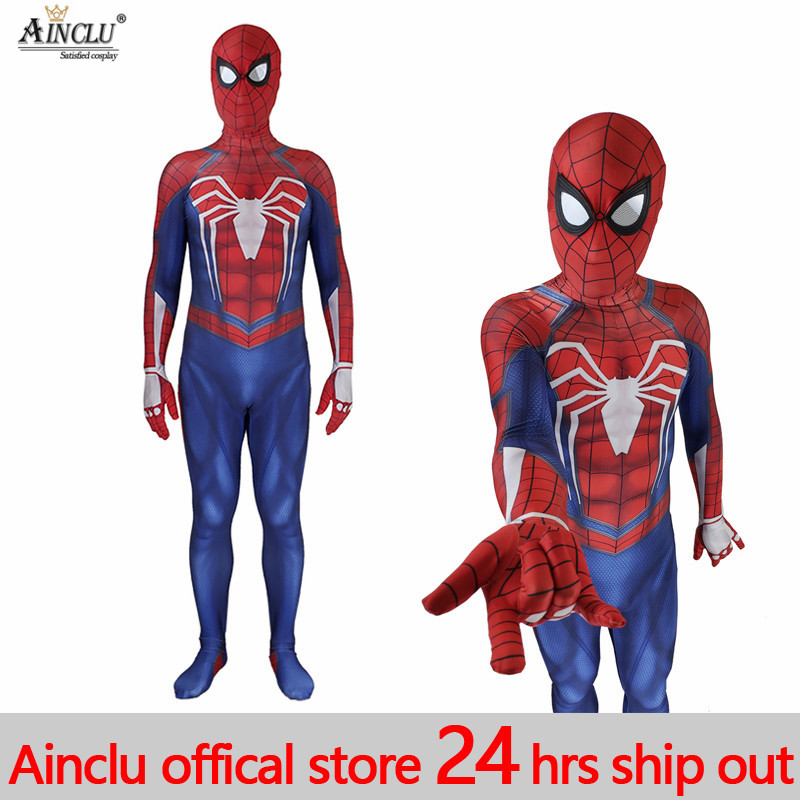 PS4 insomniac spiderman costume Spandex Games Suit Avengers COS Spiderman PS4 Cosplay Costume Halloween jumpsuits For Adult/Kids